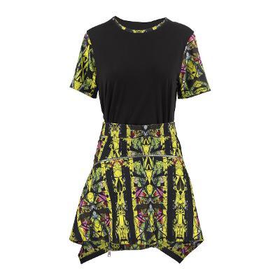 print tee yellow & print zipper skirt yellow